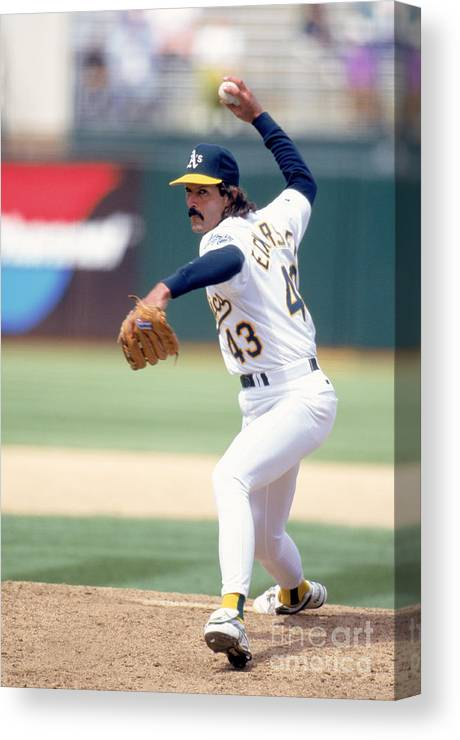 1980-1989 Canvas Print featuring the photograph Dennis Eckersley by Jeff Carlick