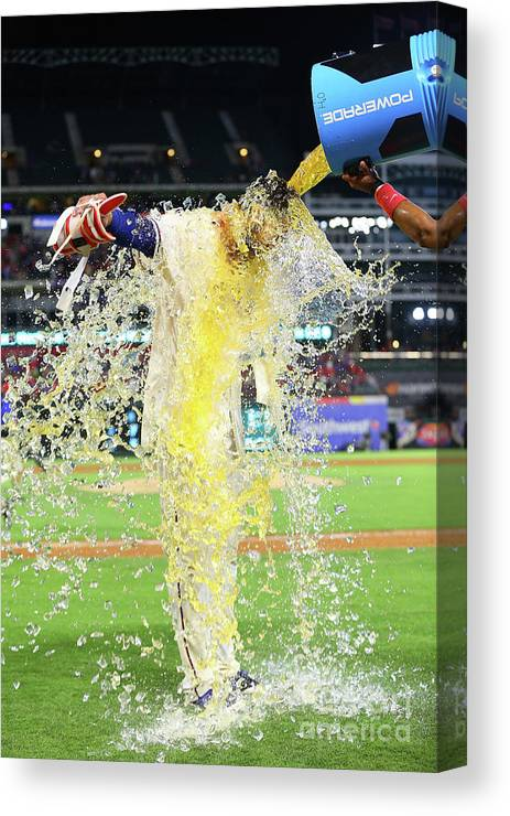 Ninth Inning Canvas Print featuring the photograph Elvis Andrus And Joey Gallo by Rick Yeatts