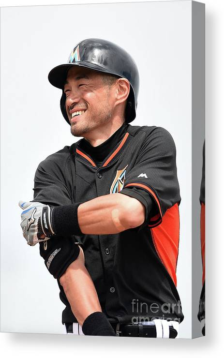 Second Inning Canvas Print featuring the photograph Ichiro Suzuki by Stacy Revere