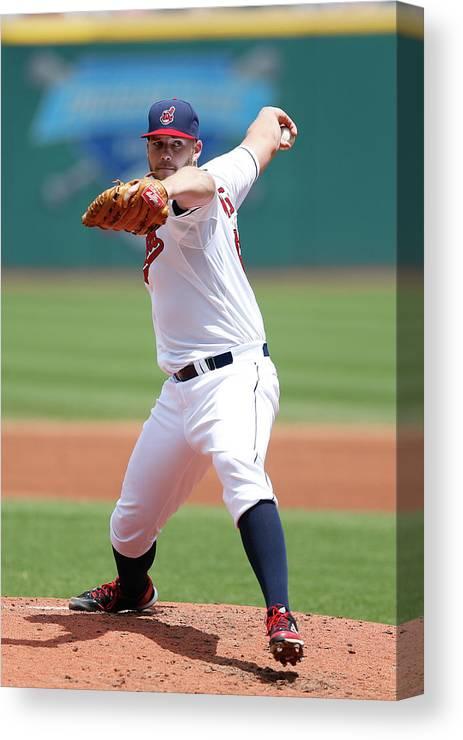 American League Baseball Canvas Print featuring the photograph Justin Masterson by Joe Robbins