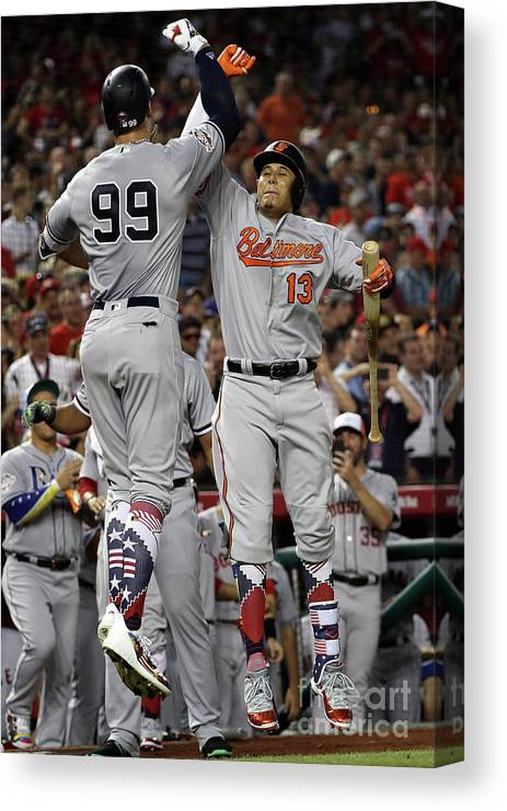 Second Inning Canvas Print featuring the photograph Manny Machado And Aaron Judge by Patrick Smith