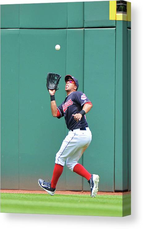 People Canvas Print featuring the photograph Michael Brantley by Jamie Sabau