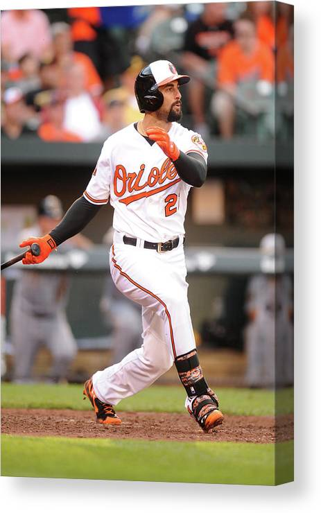 American League Baseball Canvas Print featuring the photograph Nick Markakis by Mitchell Layton