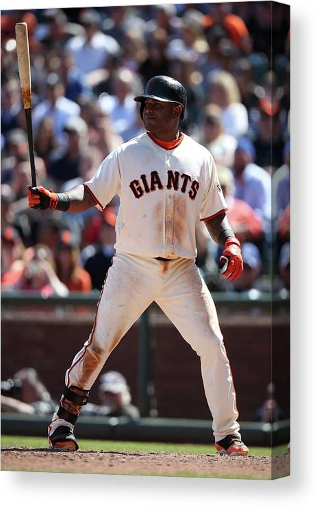 San Francisco Canvas Print featuring the photograph Pablo Sandoval by Brad Mangin