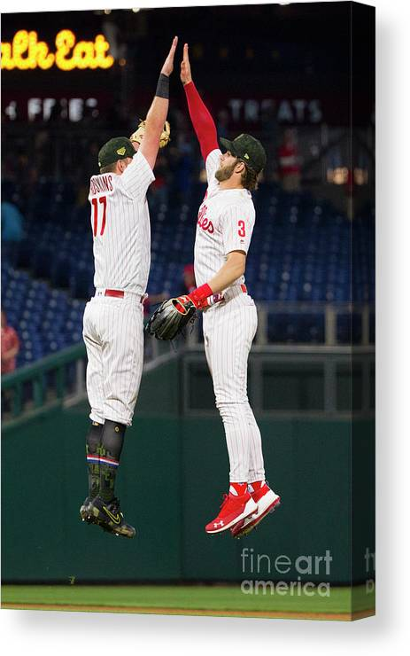 People Canvas Print featuring the photograph Rhys Hoskins And Bryce Harper by Mitchell Leff