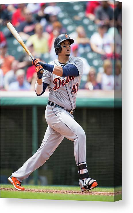 American League Baseball Canvas Print featuring the photograph Victor Martinez by Jason Miller