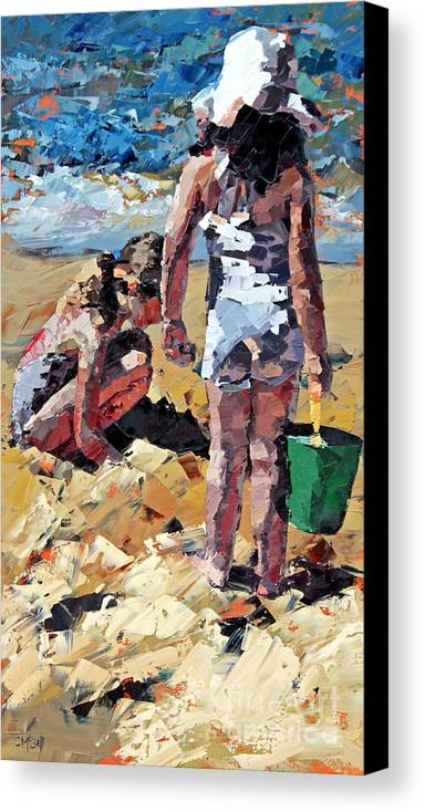 Claire Canvas Print featuring the painting Sandcastles II by Claire McCall