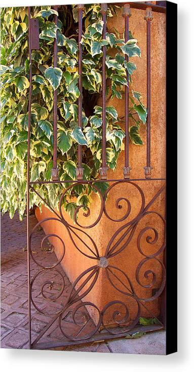 Green Ivy Canvas Print featuring the photograph Ivy And Old Iron Gate by Ben and Raisa Gertsberg