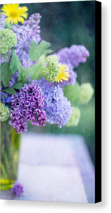 Lilacs Canvas Print featuring the photograph Lilacs On The Table by Rebecca Cozart