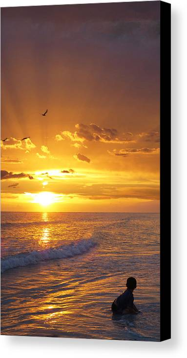 Children Canvas Print featuring the painting Not Yet - Sunset Art By Sharon Cummings by Sharon Cummings