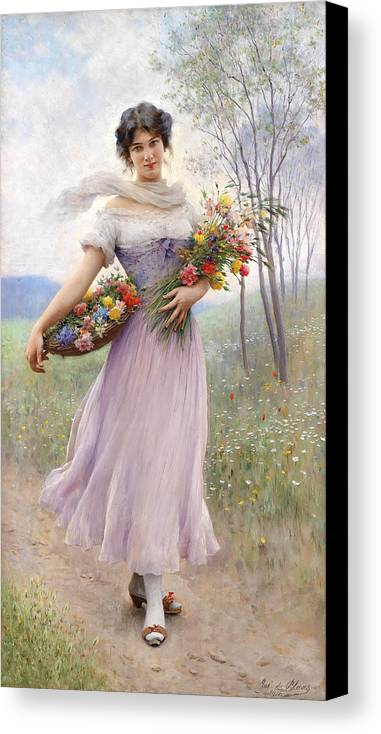 Flowers Canvas Print featuring the painting Woman With Flowers by Mountain Dreams