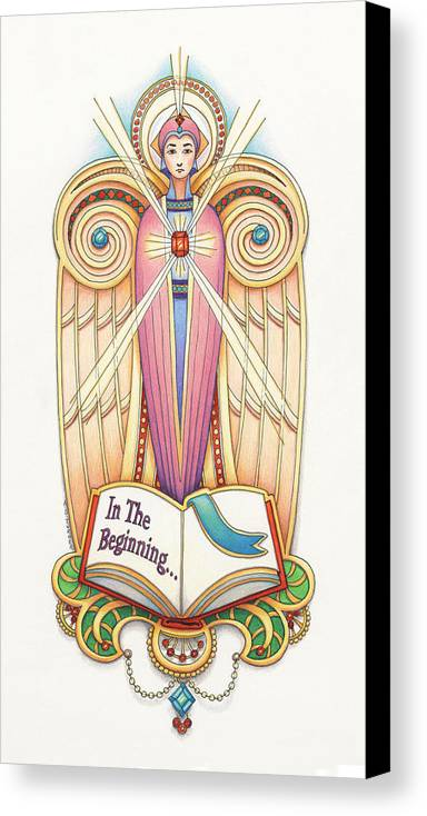 Colored Pencil Canvas Print featuring the drawing Scroll Angel - Ionica by Amy S Turner
