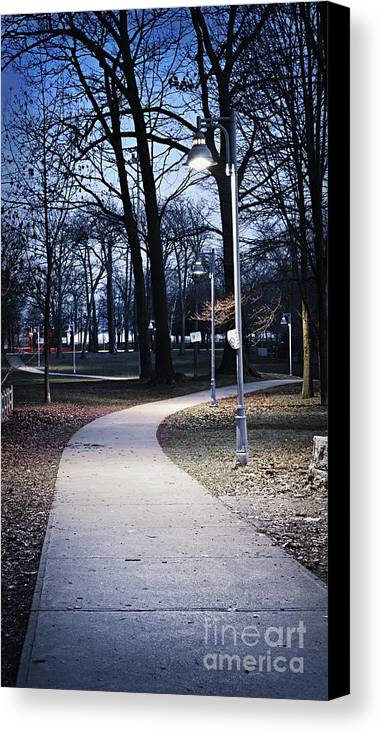 Park Canvas Print featuring the photograph Park Path At Dusk by Elena Elisseeva