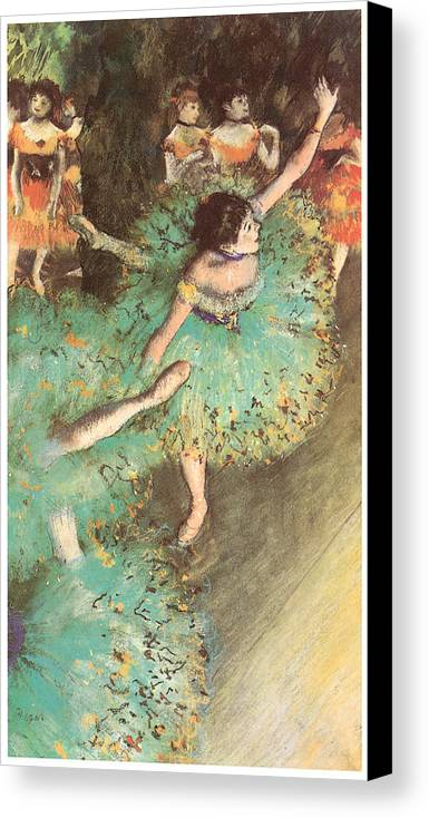 The Green Dancer Canvas Print featuring the pastel The Green Dancer by Edgar Degas