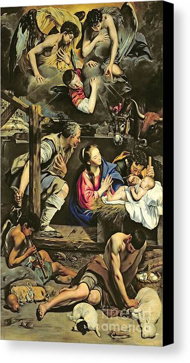 The Adoration Of The Shepherds Canvas Print featuring the painting The Adoration Of The Shepherds by Fray Juan Batista Maino or Mayno
