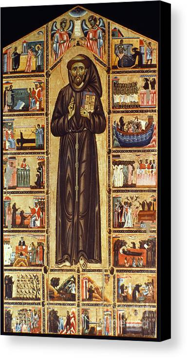 12th Century Canvas Print featuring the painting St Francis Of Assisi by Granger