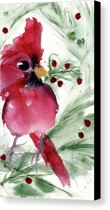 Cardinal Canvas Print featuring the painting Christmas Cardinal by Dawn Derman