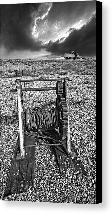 Winch Canvas Print featuring the photograph Fishing Boat Graveyard 8 by Meirion Matthias