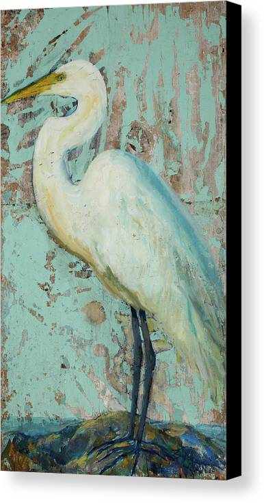 Crane Canvas Print featuring the painting White Crane by Billie Colson