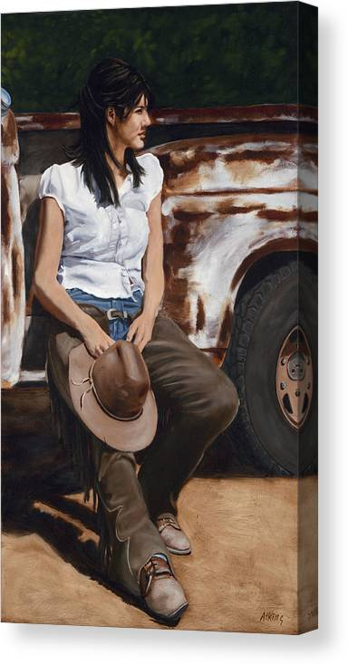 Cowgirl Canvas Print featuring the painting Shanti Waiting by Jack Atkins