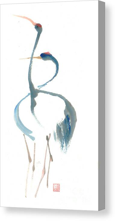 A Pair Of Cranes Dancing Canvas Print featuring the painting Duet by Mui-Joo Wee