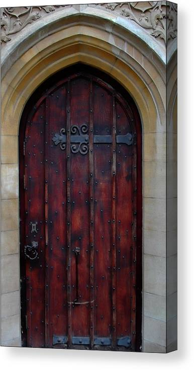 Abbey Canvas Print featuring the photograph Door At Bath Abbey by Tony Grider