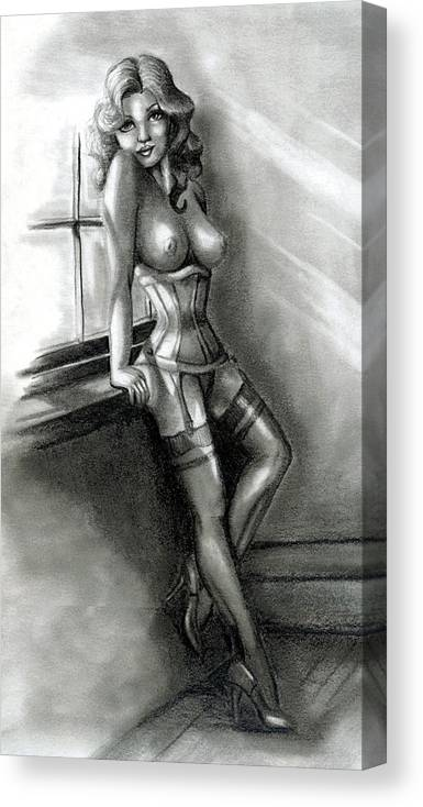 Figure Canvas Print featuring the drawing Moonlight by Scarlett Royal