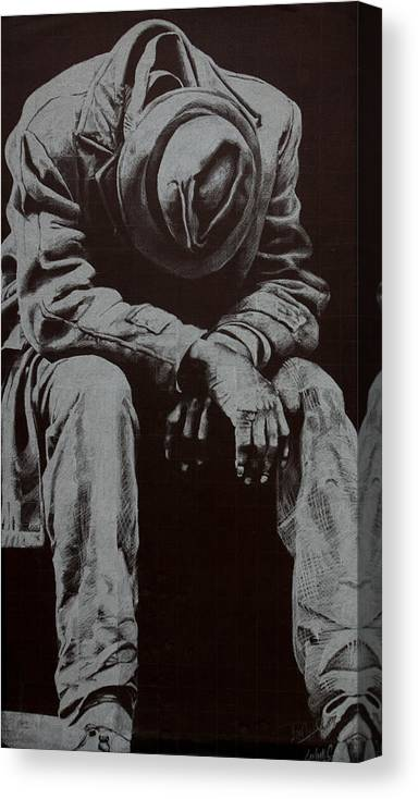 Figure Canvas Print featuring the drawing Odis by Lamark Crosby