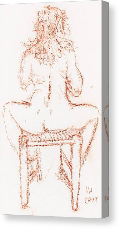 Drawings Canvas Print featuring the drawing Thinking Back by Jerry Hanks