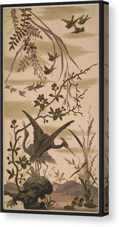 Crane Canvas Print featuring the pyrography Cranes And Birds At Pond 1880 by Daniel Hagerman