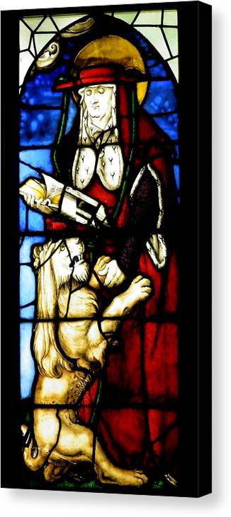 Stained Canvas Print featuring the photograph Stained Glass Window C Freiburg Im Breisgau by Leone M Jennarelli
