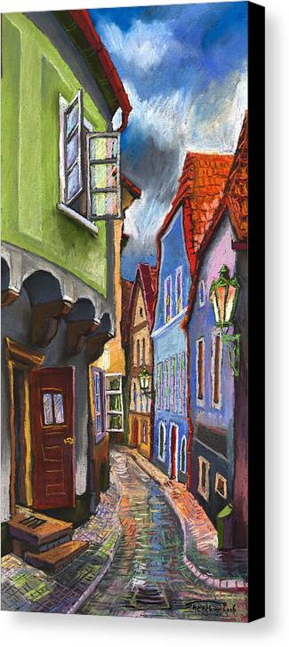 Pastel Chesky Krumlov Old Street Architectur Canvas Print featuring the painting Cesky Krumlov Old Street 1 by Yuriy Shevchuk