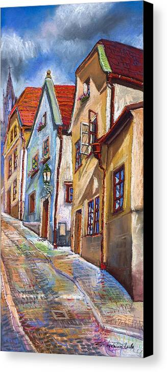 Pastel Chesky Krumlov Old Street Architectur Canvas Print featuring the painting Cesky Krumlov Old Street 2 by Yuriy Shevchuk