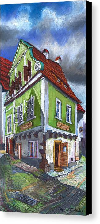 Pastel Chesky Krumlov Old Street Cityscape Realism Architectur Canvas Print featuring the painting Cesky Krumlov Old Street 3 by Yuriy Shevchuk
