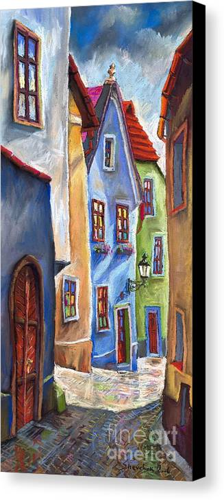 Cityscape Canvas Print featuring the painting Cesky Krumlov Old Street by Yuriy Shevchuk