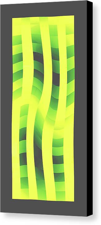 Moveonart! Global Gathering. -- Digital Abstract Art By Jacob Kane -- Omnetra Canvas Print featuring the digital art Moveonart Yellowlimegreenwave by Jacob Kanduch