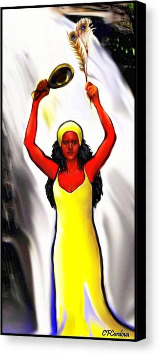 Oshun Canvas Print featuring the digital art Oshun -goddess Of Love -4 by Carmen Cordova