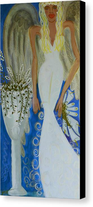 Angel Artwork Canvas Print featuring the painting Peace And Love Angel by Helen Gerro