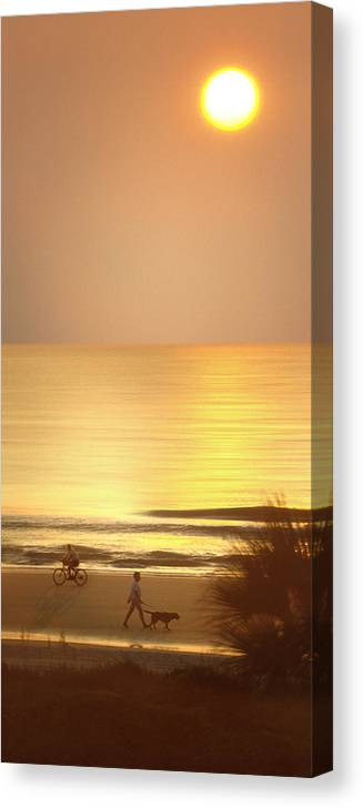 North Carolina Sunrise Canvas Print featuring the photograph Sunrise At Topsail Island Panoramic by Mike McGlothlen