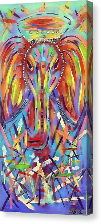 Canvas Print featuring the painting Elephant Love by Demitri Norris