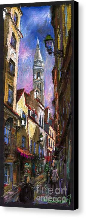 Pastel Canvas Print featuring the painting Paris Montmartre by Yuriy Shevchuk