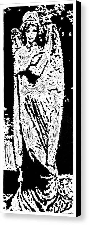 Angel Canvas Print featuring the painting Contentment -- Hand-pulled Linoleum Cut by Lynn Evenson