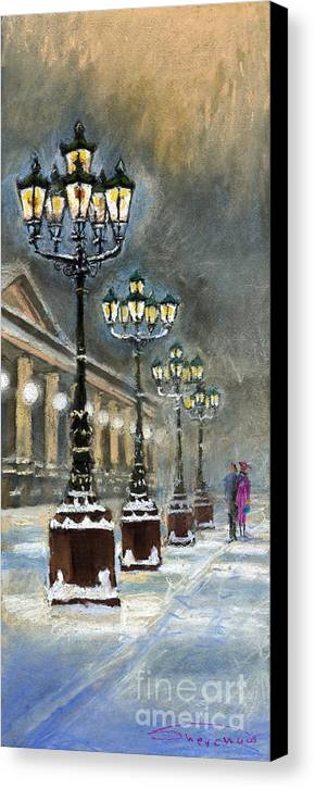 Pastel Canvas Print featuring the painting Germany Baden-baden Kurhaus by Yuriy Shevchuk