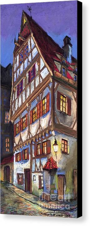 Pastel Canvas Print featuring the painting Germany Ulm Old Street by Yuriy Shevchuk