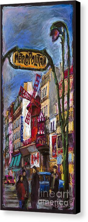 Cityscape Canvas Print featuring the painting Paris Mulen Rouge by Yuriy Shevchuk