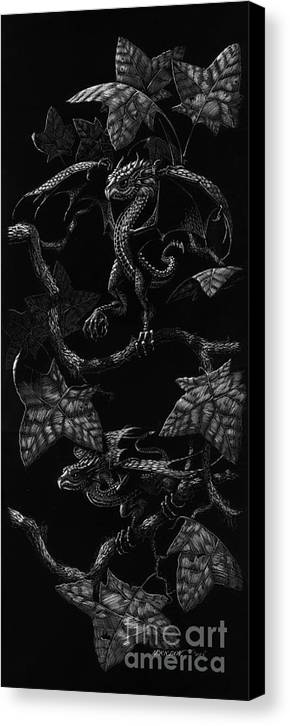 Dragon Canvas Print featuring the drawing Snap Dragons by Stanley Morrison
