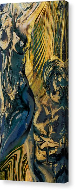 Man Woman Human Human Beings Love Sex Body Naked Nude Young Canvas Print featuring the painting Loss Of Innocence by Anne Weirich