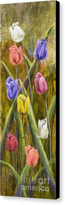 Tulip Canvas Print featuring the painting Splashy Tulips by Vic Mastis