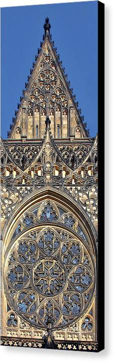 Rosette Canvas Print featuring the photograph Rose Window - Exterior Of St Vitus Cathedral Prague Castle by Christine Till