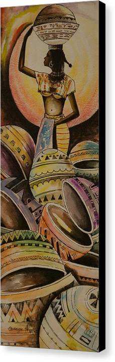 Canvas Print featuring the painting Calabash Woman by Alfred Awonuga